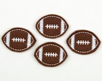 FOOTBALL - Embroidered Felt Embellishments / Appliques - Brown & White  (Qnty of 4) SCF5270