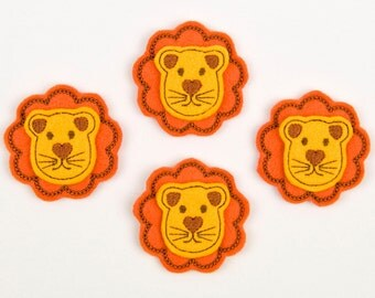 LION - Embroidered Felt Embellishments / Appliques - Orange & Goldenrod  (Qnty of 4) SCF6160