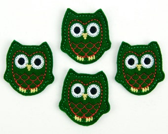 OWL - Embroidered Felt Embellishments / Appliques - Green & Red  (Qnty of 4) SCF6560