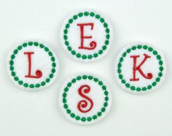 CIRCLE MONOGRAM / Curlz - Embroidered Felt Embellishments / Appliques - White, Red & Green (Qnty of 4) SCF5015