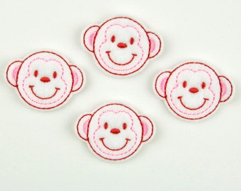MONKEY - Embroidered Felt Embellishments / Appliques - White, Red & Pink  (Qnty of 4) SCF6175