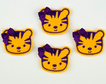 TIGER - Embroidered Felt Embellishments / Appliques - LSU Gold & Purple  (Qnty of 4) SCF6215
