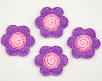 FLOWER - Embroidered Felt Embellishments / Appliques - Purple & Pink  (Qnty of 4) SCF0145
