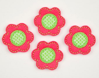 FLOWER - Embroidered Felt Embellishments / Appliques - Hot Pink & Lime  (Qnty of 4) SCF0135