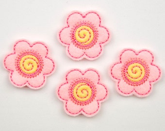 FLOWER - Embroidered Felt Embellishments / Appliques - Light Pink & Yellow  (Qnty of 4) SCF0140