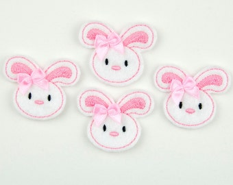 BUNNY - Embroidered Felt Embellishments / Appliques - White & Pink  (Qnty of 4) SCF1025
