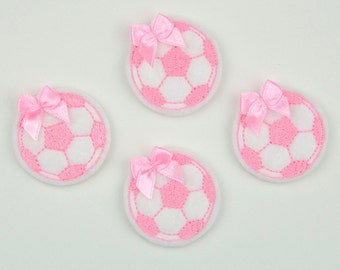 SOCCER BALL - Embroidered Felt Embellishments / Appliques - White & Pink  (Qnty of 4) SCF5285