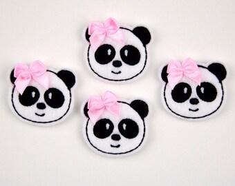 PANDA - Embroidered Felt Embellishments / Appliques - White & Black  (Qnty of 4) SCF6185