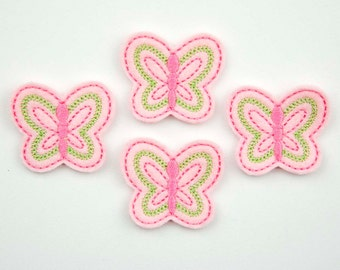 BUTTERFLY - Embroidered Felt Embellishments / Appliques - Light Pink, Hot Pink & Lime  (Qnty of 4) SCF6035