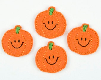 SMILEY PUMPKIN - Embroidered Felt Embellishments / Appliques - Orange  (Qnty of 4) SCF3060