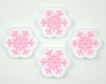 SNOWFLAKE - Embroidered Felt Embellishments / Appliques - White & Pink  (Qnty of 4) SCF4070