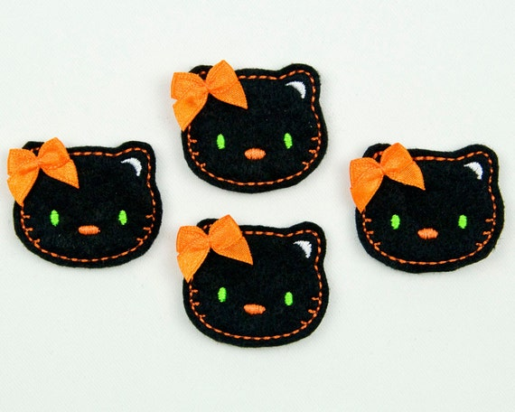 CAT - Embroidered Felt Embellishments / Appliques - Black, Orange & Neon Green  (Qnty of 4) SCF6060