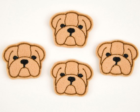 BULLDOG FACE - Embroidered Felt Embellishments / Appliques - Tan  (Qnty of 4) SCF6010