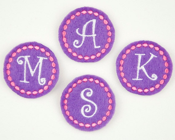 CIRCLE MONOGRAM / Curlz - Embroidered Felt Embellishments / Appliques - Purple, White & Pink  (Qnty of 4) SCF5030