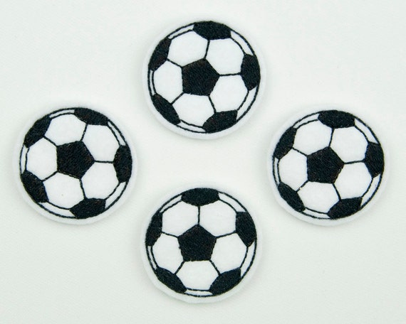 SOCCER BALL - Embroidered Felt Embellishments / Appliques - White & Black  (Qnty of 4) SCF5280