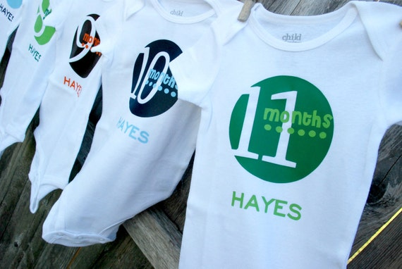 Boy Monthly Onesie Set, Just Born included