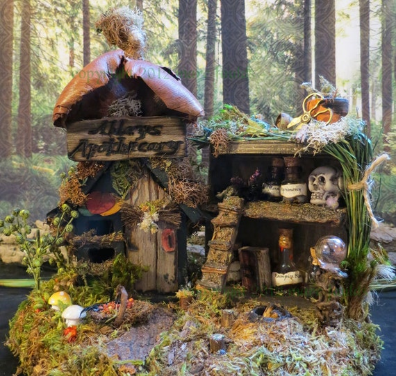 Fairy House, Apothecary, Miniature House, Miniature Art, Woodland Fairies, Dark Magic