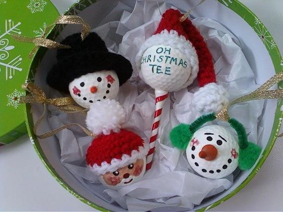Golf Ball Christmas Ornaments - Set of 4