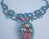 "Vintage Rhinestone Statement Candy Necklace- ""Cotton Dandy"""