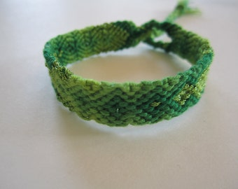"Handmade Friendship Bracelet- ""Green Goddess"""