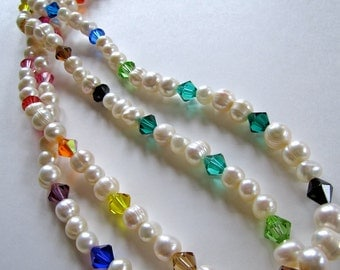 "Pearl and Swarovski Crystal Long Wrap Statement Necklace- ""Somewhere Over the Rainbow and Around My Neck"""