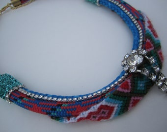 "Tribal Rope Vintage Rhinestone Friendship Bracelet Statement Necklace- ""Bahama Bling"""
