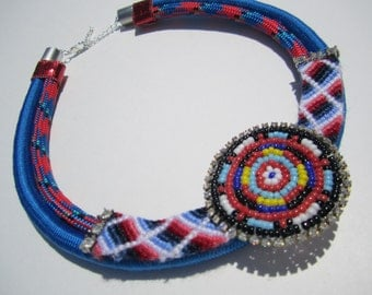 "4th of July Tribal Bungee Rope Friendship Bracelet Rhinestone Statement Necklace- ""Red, White & Blue"""