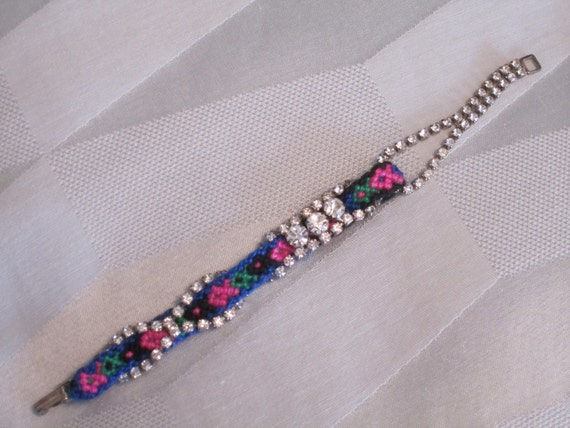 "RESERVED Vintage Rhinestone Friendship Bracelet- ""One Fish, Two Fish, Green Fish, Pink Fish"""