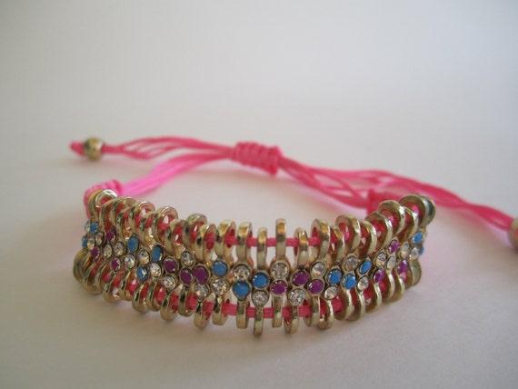 Neon Pink & Blue Hand Painted Rhinestone Bracelet