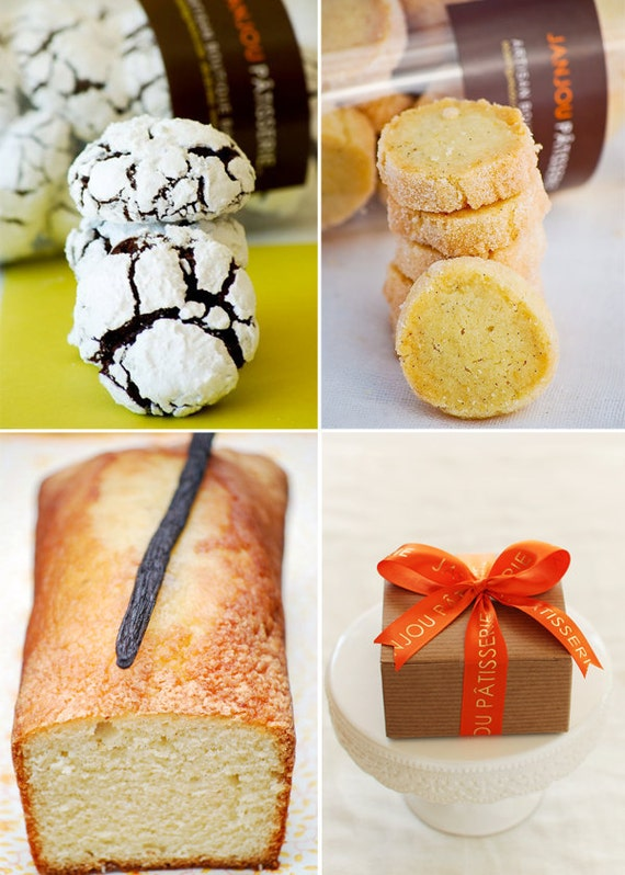 Mother's Day Gift Box: Chocolate Orange Crinkle, Vanilla bean and lemon cookies, mini loaf of Vanilla bean and rum cake