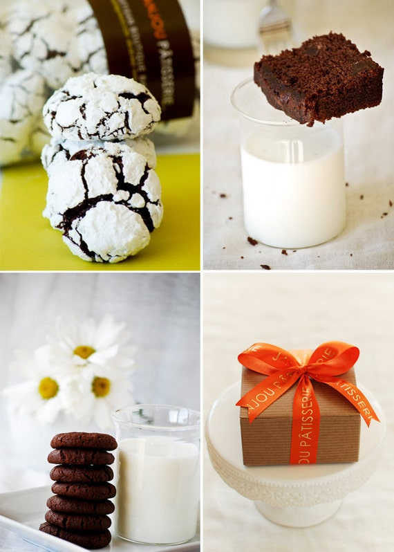 Chocolate Gift Box: Chocolate Orange Crinkles,Chocolate & Fleur de Sel cookies, chocolate and Fleur de Sel cake
