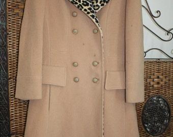1960s Coat /  Camel / Wool / Leopard trim / Leopard lining