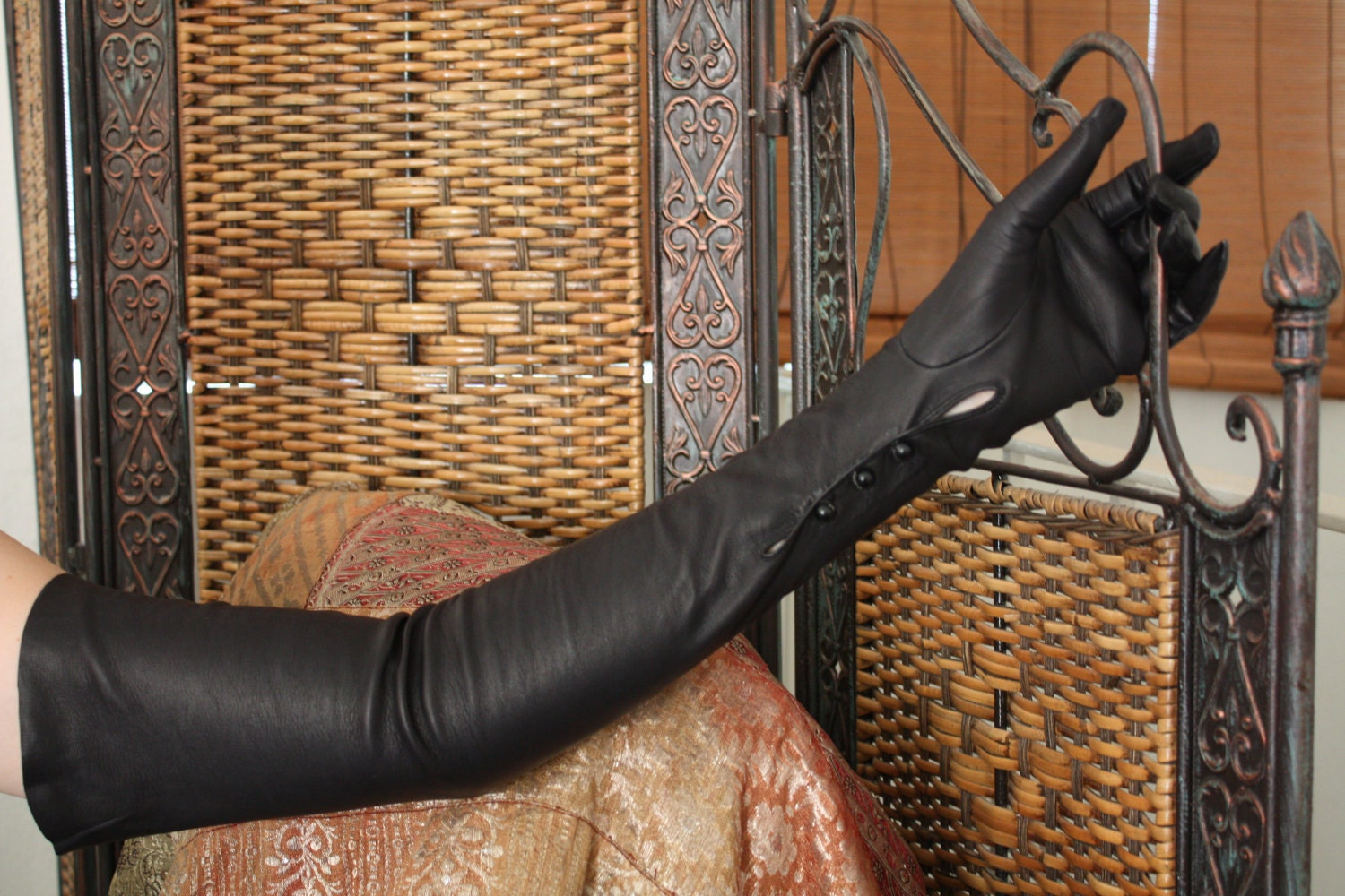 Black leather gloves with red buttons -  Black Leather Gloves Opera Length Mousqetaire 3 Button Zoom