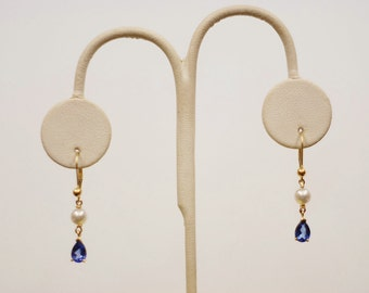 TANZANITE and PEARL EARRINGS