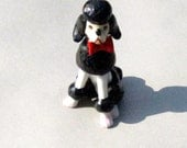 VIntage Poodle Midcentury Black White Red Ceramic Japan