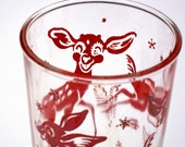 Hazel Atlas Juice Glass Reindeer Red Vintage 1950s Snowflakes