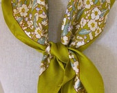 RESERVED FOR TANYA Vintage Liberty Print Silk Scarf Olive Green Floral Pattern Liberty of London Made in England