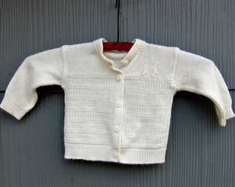 Vintage Baby Sweater Hand Knit White Sailboat Nautical