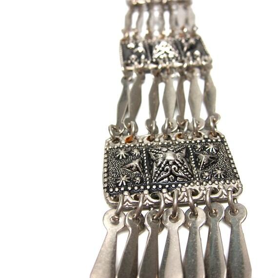Vintage Bracelet Aztec Style Silver Mexican Wide Bracelet
