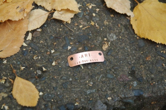 Custom cat or dog tag in brass, nickel, or copper