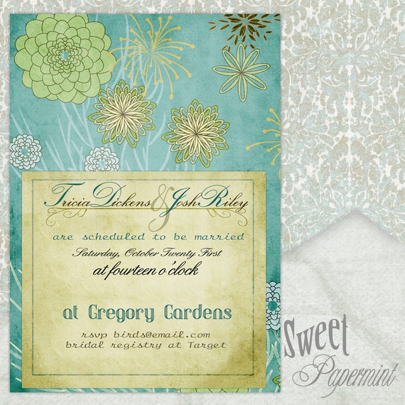 Floral Wedding Invitation Card Blue Spray of Flowers Vintage - Customizable