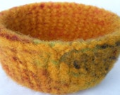 Felted bowl, knitted, handspun wool, thick, deep, wide