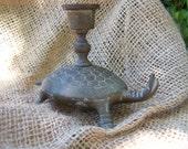 Brass Turtle Tortoise Candleholder Taper Candle Vintage 106