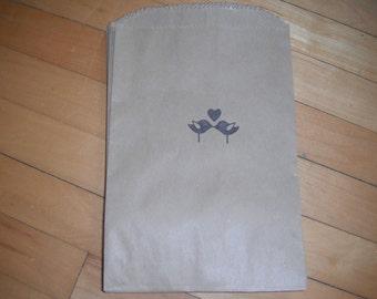 75 Kraft Love Bird stamped bags