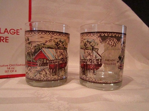 Friendly Village Glasses 4  Mint Country French Traditional Mid Century