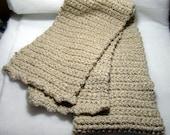 Tan Crochet Winter Scarf