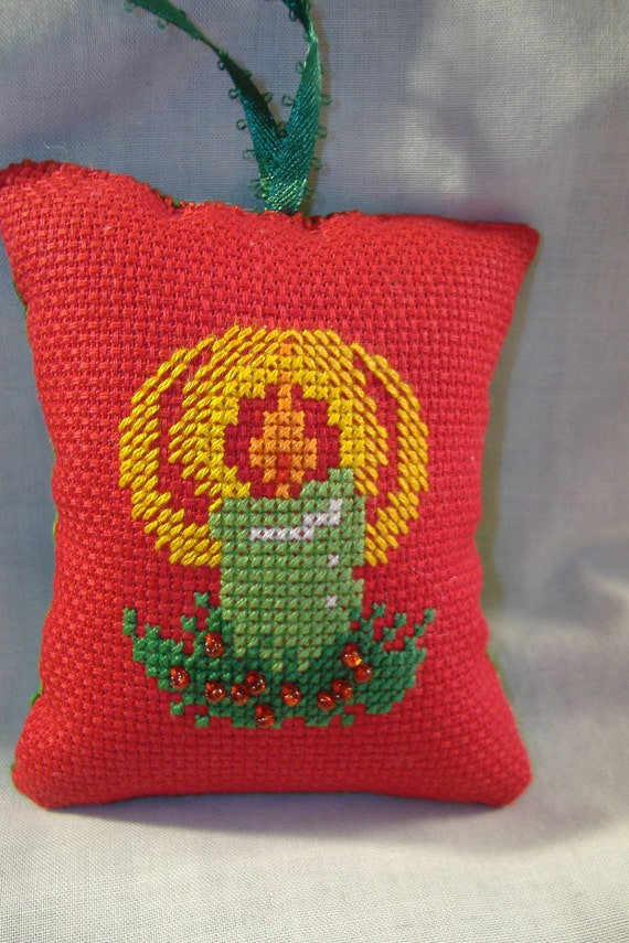 Single Green Candle on Red CrossStitch Christmas Ornament