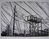 "Artwork Power Lines Linocut Hand Printed Original Relief Print ""Pershing Road I"""