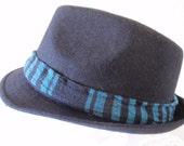 Black fedora with Blue trim