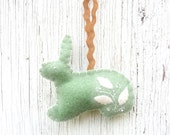 Green mint cottage chic Easter bunny ornament, number 25